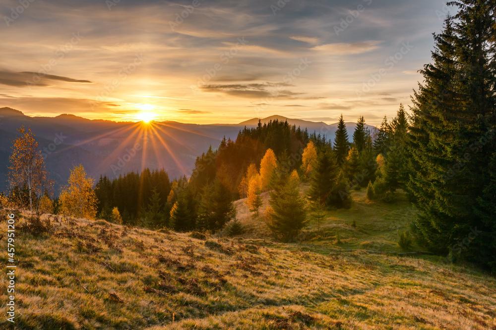 Beautiful sunrise in Carpathian mountains in autumn, Ukraine