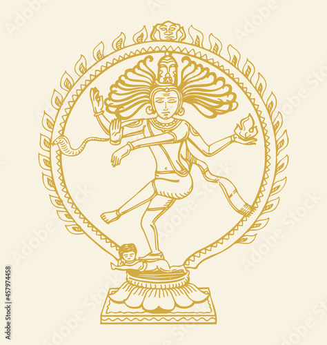 Photo Sketch of gold color dancing lord shiva or nataraja statue outline editable illu