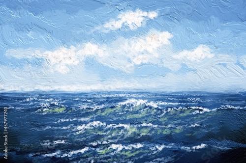 Fotografie, Obraz Oil paintings sea landscape,texture, waves on the sea