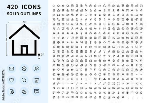 Obraz na plátne 420 solid outlines icons  420 シンプルなラインアイコン