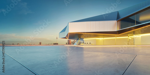 Murais de parede Perspective view of empty cement floor with steel and glass modern building exte