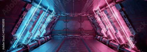 Photo Blue and pink spaceship interior with neon lights on panel walls