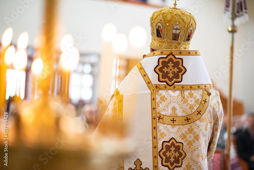 Fotografering Greek Catholic pop bishop in the church.