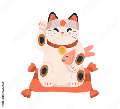 Obraz na plátně Maneki-neko toy with Japanese carp in paw
