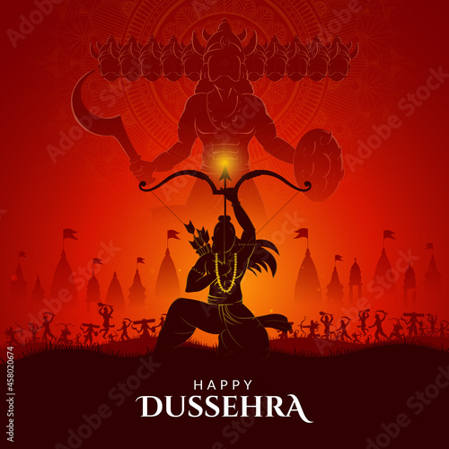 Photo War of Lord Rama and Ravana Happy Dussehra, Navratri and Durga Puja festival of