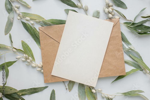 Obraz na plátně invitation card mockup with branch of Elaeagnus argentea