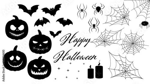 Billede på lærred set for halloween ,silhouette of a spider, cobweb, halloween pumpkin, set of sti