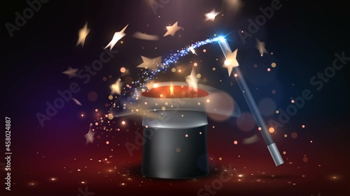 Fotografering Magician's hat with sparks and golden stars flying out of it and a magic wand