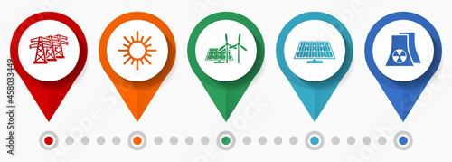 Photo Renewable energy, power concept vector icon set, flat design pointers, infograph