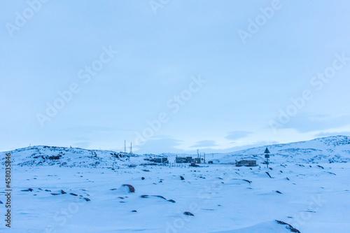 Fotografering Snow plains on the Barents sea coast beyond the Arctic circle in the far North i