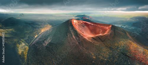 Fotografering Volcano craters and black lava fields of Tolbachik volcano in Kamchatka peninsula, Russia