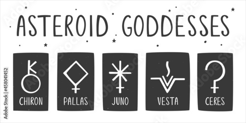 Set of ancient astrological, esoteric or alchemy symbols of the asteroid goddesses Fototapet