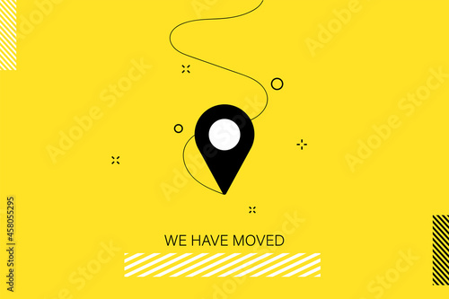 Fototapeta Indicated Place on the Map. We Have Moved