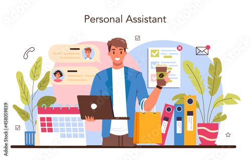 Fototapeta premium Secretary concept. Receptionist answering calls and assisting