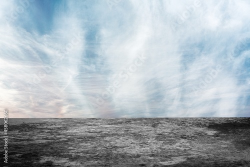 Wide Sunset Sky Clouds Background with Dark Empty Concrete Floor or desk