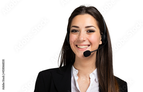 Fototapeta Beautiful consultant of call center isolated on white