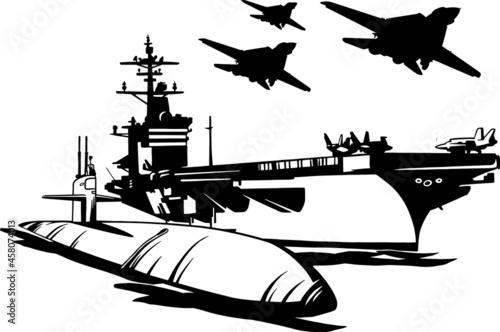 Billede på lærred Navy - warship, carrier-based fighters and submarine
