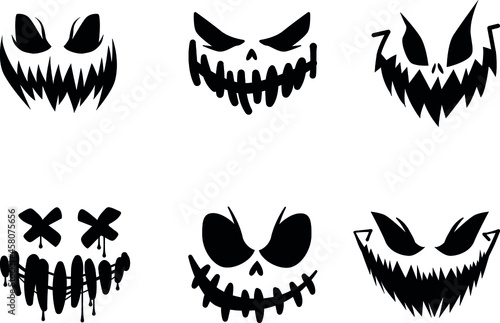 Scary and funny faces of Halloween pumpkin or ghost Fototapeta
