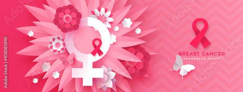 Breast cancer pink papercut flower symbol banner