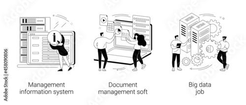 Information collection and analysis abstract concept vector illustrations.