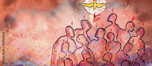 Canvas Pentecost. Christian banner, watercolor
