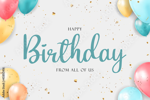 Fotografering Happy Birthday congratulations banner design with Confetti, Balloons and Glossy Glitter Ribbon for Party Holiday Background