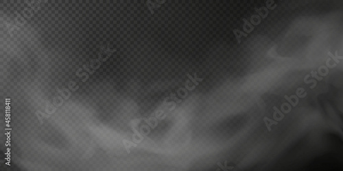 White smoke puff isolated on transparent black background. PNG. Steam explosion special effect. Effective texture of steam, fog, smoke png. Vector.