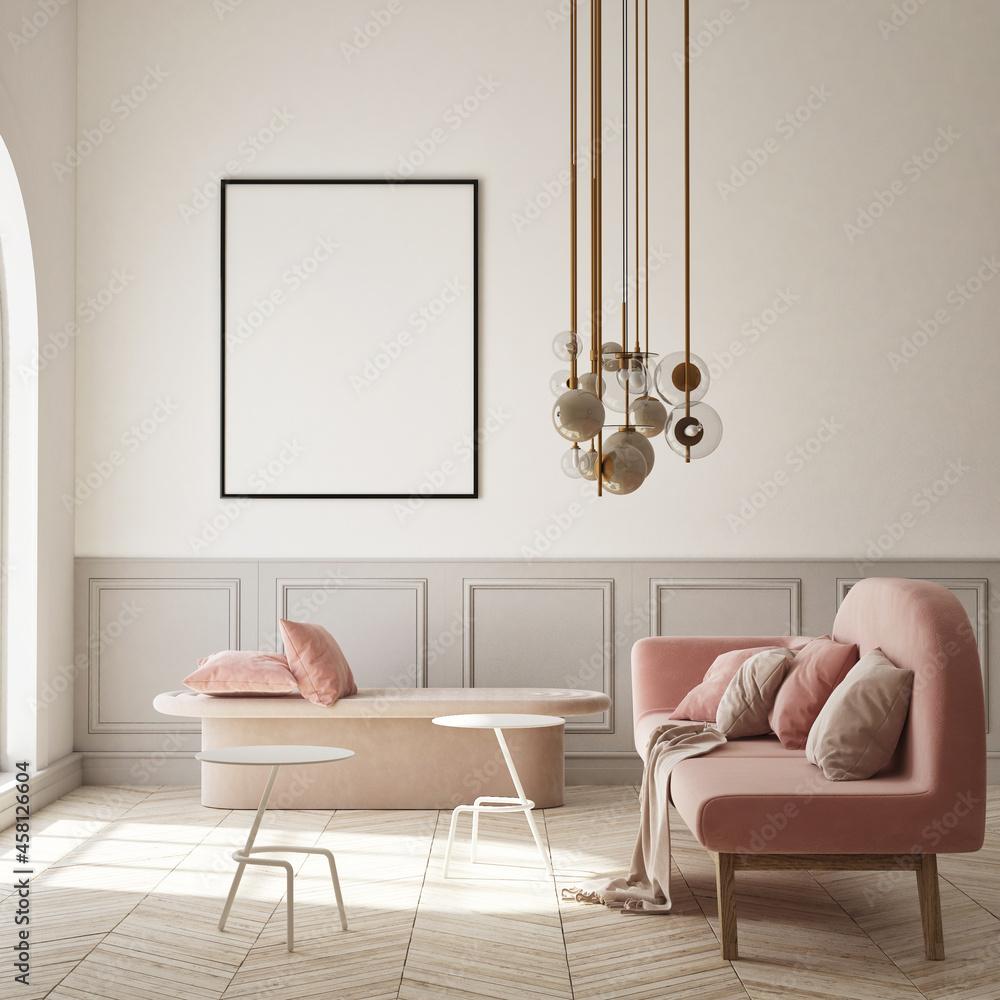 Leinwandbild Motiv - mtlapcevic : mock up poster frame in modern interior background, living room, Scandinavian style, 3D render, 3D illustration