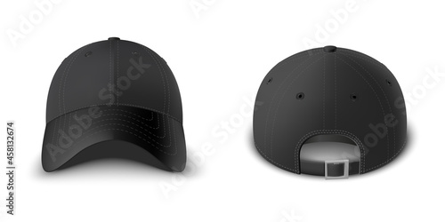 Leinwand Poster Black baseball cap set front and back view realistic vector template