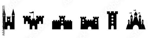 Fotografering castle fort icon silhouette