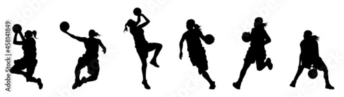 Tablou Canvas girl playing basketball silhouette collection