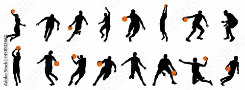 Fotografie, Tablou playing basketball silhouette collection
