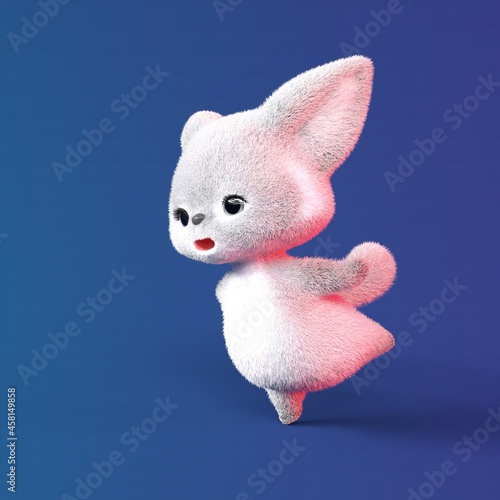 Fototapeta premium 3D-illustration of a grey cute and funny cartoon fox. isolated rendering object