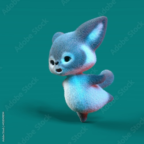 Fototapeta premium 3D-illustration of a cute and funny cyan cartoon fox. isolated rendering object