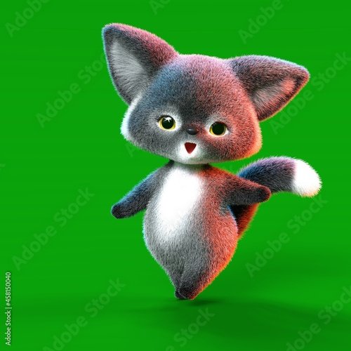 Fototapeta premium 3D-illustration of a cute and funny brown cartoon fox. isolated rendering object over green background
