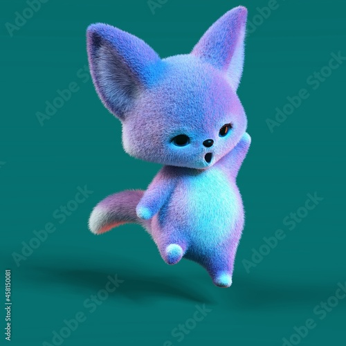 Fototapeta premium 3D-illustration of a cute and funny blue cartoon fox. isolated rendering object