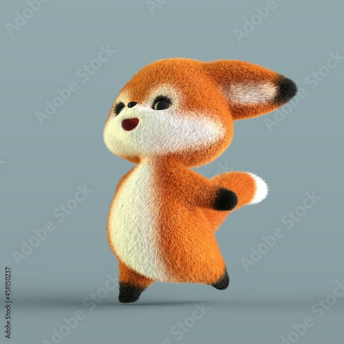 Fototapeta premium 3D-illustration of a cute and funny happy cartoon fox. isolated rendering object