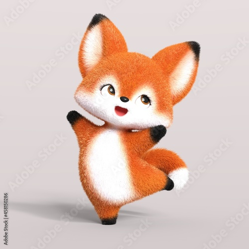 Fototapeta premium 3D-illustration of a cute and funny cartoon fox dancing happily. isolated rendering object