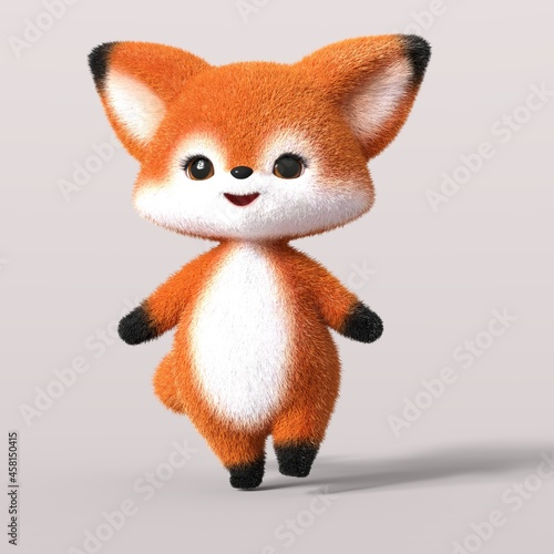Fototapeta premium 3D-illustration of a cute and funny standing walking cartoon fox. isolated rendering object