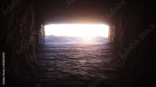 Tela Futuristic old rock cave, coridor