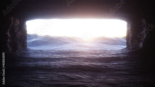 Canvastavla Futuristic old rock cave, coridor
