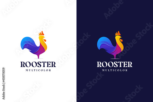 Foto modern gradient rooster logo colorful abstract