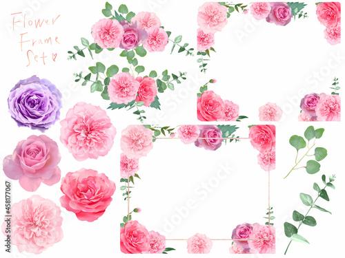 Canvas 美しい色使いのいろいろなバリエーションのバラの花と植物のおしゃれな白バックフレームセットイラストベクター素材