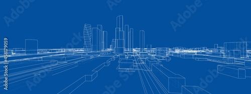 Tela Vector 3d urban landscape. Buildings and roads