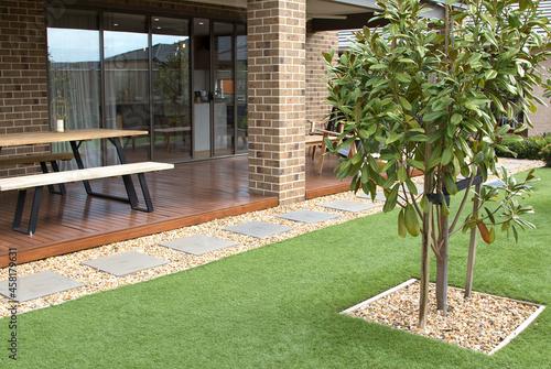 Obraz na plátně Low-Maintenance Modern Backyard Landscaping