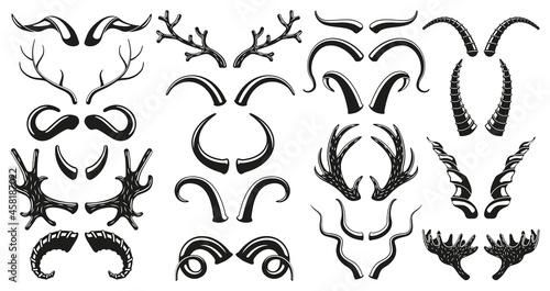 Obraz na plátne Hunting wild animals, deer, goat horns antlers silhouettes