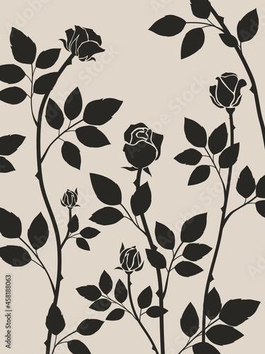 Black rose vine silhouette art on beige background Fotobehang