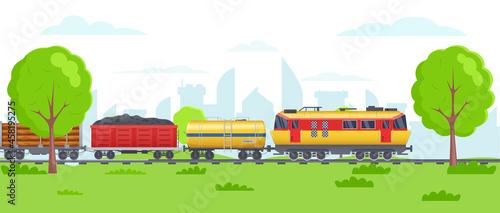 Fotografie, Obraz Freight train with wagons, tanks, freight, cisterns