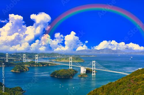 Obraz na plátně しまなみ海道の来島海峡大橋にかかる虹