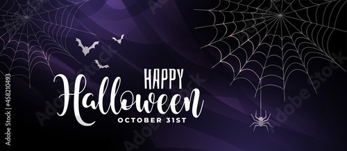 Fotografering scary halloween background with bats and spider web